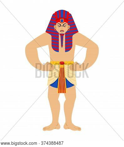 Pharaoh Angry. Rulers Of Ancient Egypt Evil. Vector Illustration