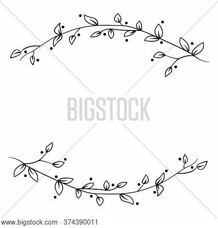Floral Design Element - Graphic Drawing Of A Brunch With Leaves