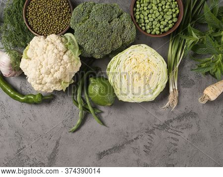 White And Green Organic Ingredients For Cooking.