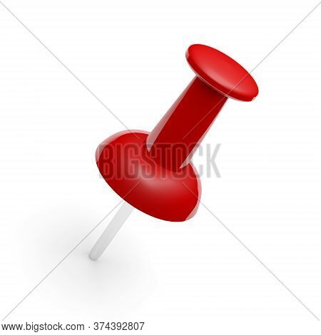 Red Push Pin Isolated On White Background. Red Thumbtack. 3d Illustration.