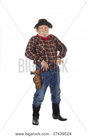 Old West Cowboy Stands With Thumbs In Belt