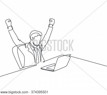 One Single Line Drawing Of Young Happy Business Man Sitting In Front Of Laptop And Celebrate His Bus