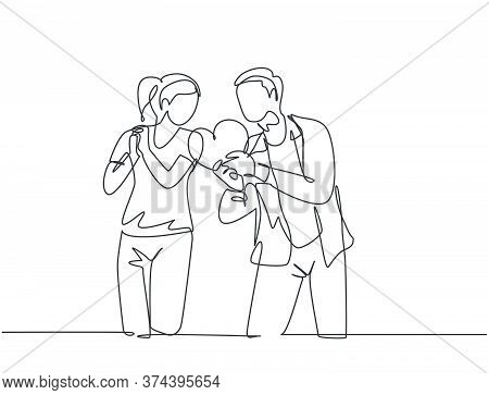 One Single Line Drawing Of Young Happy Man Propose Pretty Woman With Heart Shape Gift At Outside Par