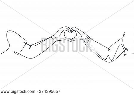 Single Continuous Line Drawing Of Cute Young Happy Couple Formed Heart Shaped With Their Hands As Lo