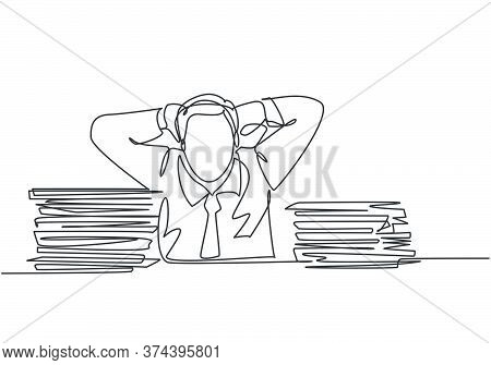 Single Continuous Line Drawing Of Young Frustrated Businessman Got Headache Facing Pile Of Papers Pr