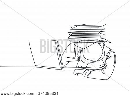 Single Continuous Line Drawing Of Young Despair Employee Got Crushed By Pile Of Papers On His Desk.
