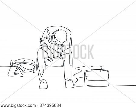 Single Continuous Line Drawing Of Young Depressed Male Manager Bowed Limply On Chair After He Got Sa