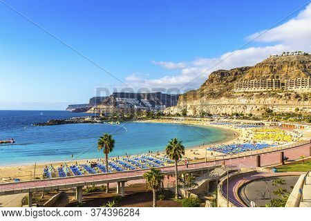 Canary Islands, Spain - December 12, 2018: Panorama Of Amadores Beach (spanish: Playa Del Amadores)