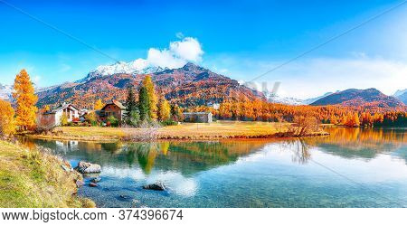 Spectacular Autumn Scene Of Sils Im Engadin (segl) Village And  Sils Lake (silsersee).  Location: Si