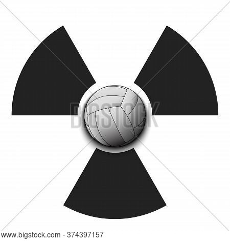Radiaction Symbol With Volleyball Ball. Caution Radioactive Danger Sign. Volleyball Quarantined. Can