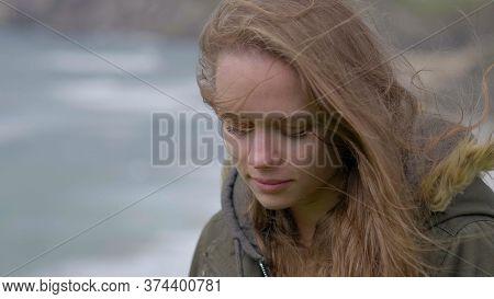 Young Sentimental Sad Woman Close Up Shot