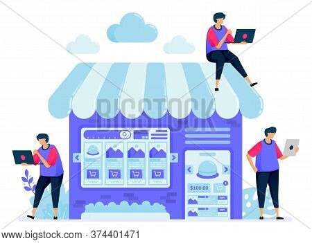 Vector Illustration For Online Marketplace With A Shop Or Stall Selling Booths. Search And Compare I