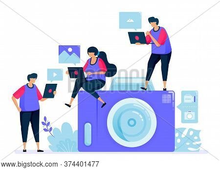 Vector Illustration For Digital Camera Or Pocket Camera. Simple Cartoon Camera. Sharing And Sending
