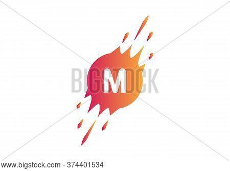 M Letter Logo. M Dot Letter Logo Where Pixel Are Flying With Letter Bit Both Side. Minimal Slice M L