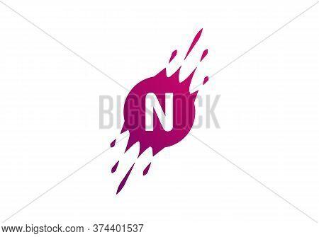 N Dot Letter Logo Where Pixel Are Flying With Letter Bit Both Side.