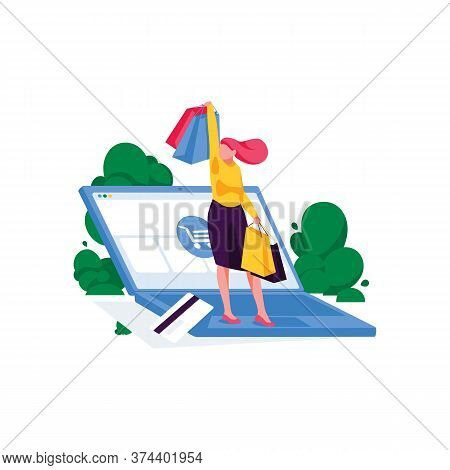 Happy Business Woman Stands With Purchases On Laptop. Online Shopping And Mobile Store. E-commerce A
