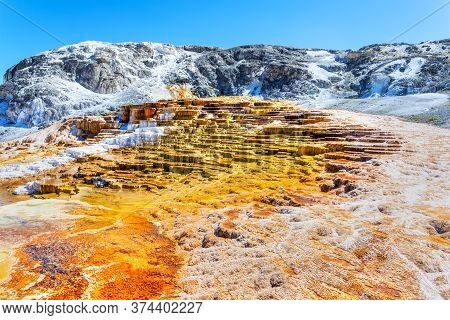 Jupiter And Mound Terraces At Mammoth Hot Springs In Yellowstone National Park, Where Travertine For
