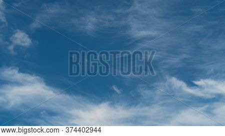 Blue Sky With Fluffy Clouds, Cloudscape, Abstract Background