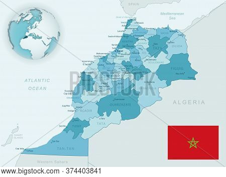 Blue-green Detailed Map Of Morocco Administrative Divisions With Country Flag And Location On The Gl