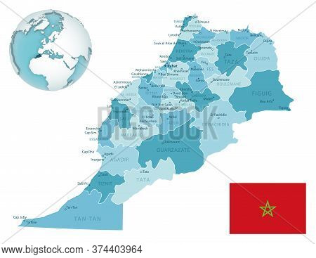 Morocco Administrative Blue-green Map With Country Flag And Location On A Globe.