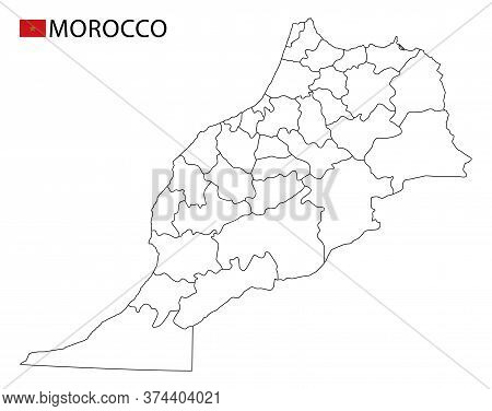 Morocco Map, Black And White Detailed Outline Regions Of The Country.