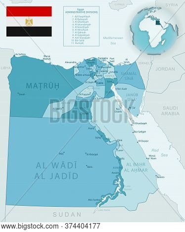 Blue-green Detailed Map Of Egypt Administrative Divisions With Country Flag And Location On The Glob