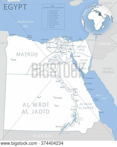 Blue-gray Detailed Map Of Egypt Administrative Divisions And Location On The Globe.