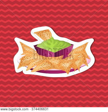 Delicious Nachos With Guacamole Sauce - Sticker Of Traditional Mexican Cuisine On Red Striped Backgr