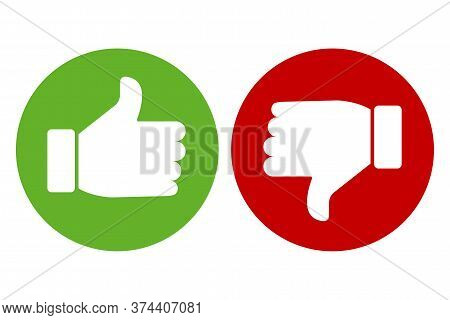 Thumb Up And Down Icon. Icon Of Approval And Not Dirty. Green And Red Button Of Consent And Denial.