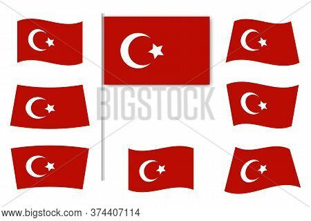 Flag Of Turkey. Vector Icon Of The Symbol Of The Islamic State. Red Flat Set Of National Signs Of Tu
