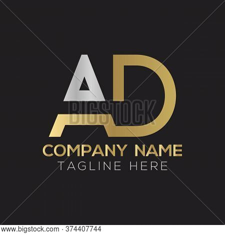 Initial Ad Letter Logo Design Modern Business Typography Vector Template. Creative Linked Letter Ad