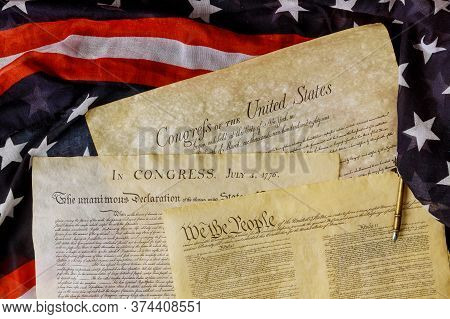 Aged Historical Documents Washington Dc On American Declaration Of Independence 4th July 1776 On U.s