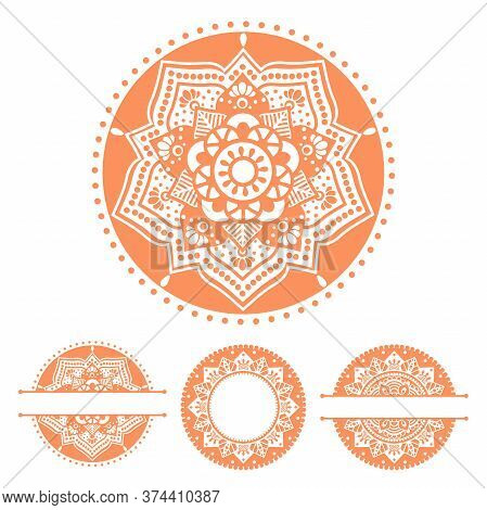 Set With Round Mandalas. Hand Drawn Vector Illustration With Traditional Balinese, Indian Pattern, Y