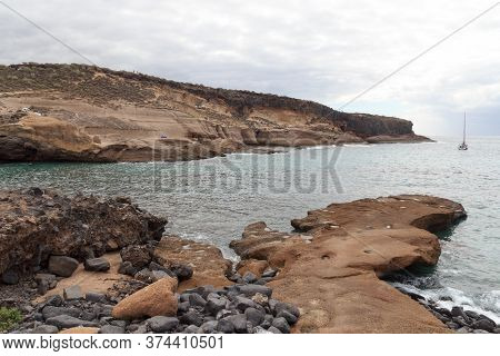 Coastline With Cliffs At Beach Playa De Los Morteros On Canary Island Tenerife, Spain