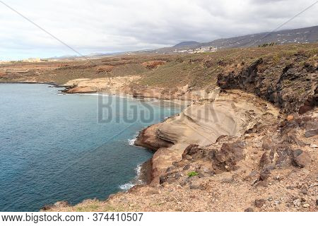 Coastline With Cliffs At Beach Playa De Diego Hernandez On Canary Island Tenerife, Spain