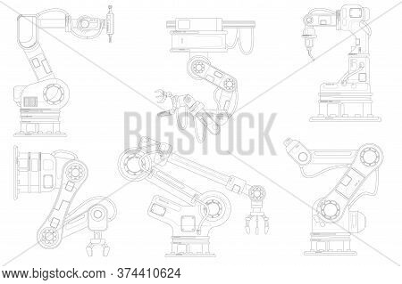 Industrial Robotic Arm Set. Isolated Robotic Arm Automation Outline Icons. Industrial Robot Hand Lin