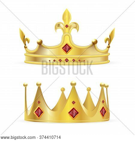 Crown Set. Isolated Realistic Antique Royal Gold Crowns With Red Ruby Jewels Icon Set. Vector King O