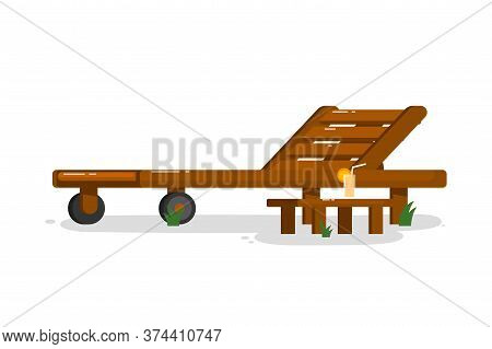 Chaise Longue. Isolated Outside Chaise Longue With Beverage Drink On Table Icon. Wooden Deck Chair.