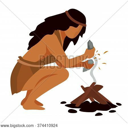 Prehistoric People Making Fire Using Rocks To Get Spark