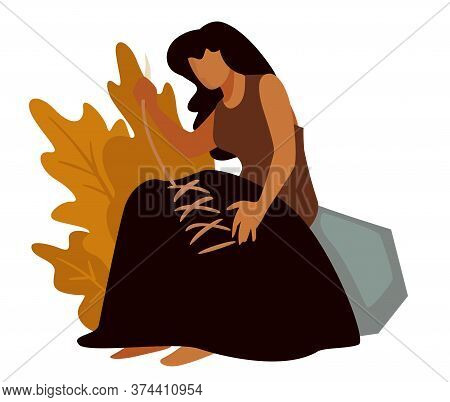 Prehistoric Woman Sewing Clothes, Ancient People In Stone Age