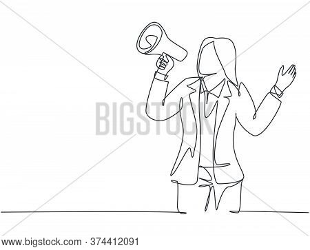 Single Continuous Line Drawing Of Young Angry Businesswoman Shouting Loudly Using Megaphone To Train