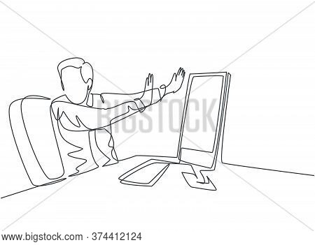 One Continuous Line Drawing Of Young Frightened Businessman Keep Of Himself From Monitor Computer Be