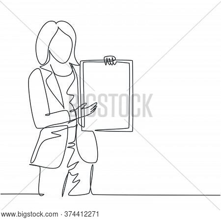 Single Continuous Line Drawing Of Young Female Presenter Presenting New Product Launch Using Tablet
