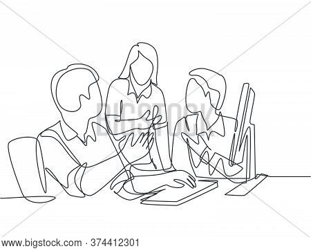 One Continuous Line Drawing Of Young Businessmen Discussing New Product Launch During Team Meeting.