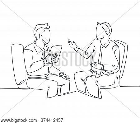 One Continuous Line Drawing Of Young Happy Business Men Discussing About New Project Deal With Colle