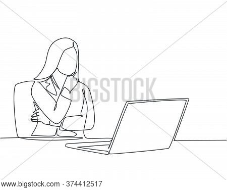 Single Continuous Line Drawing Of Young Female Startup Founder Siting In Front Of Computer Thinking