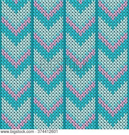 Macro Downward Arrow Lines Knit Texture Geometric Vector Seamless. Jumper Knitwear Structure Imitati