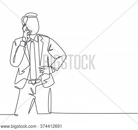 One Continuous Line Drawing Of Young Male Business Owner Get A Phone Call From His Supplier To Tell