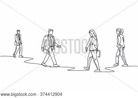 Single Continuous Line Drawing Of Group Urban Commuters Walking Pass Over And Over Again On City Str