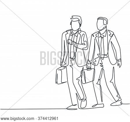 One Single Line Drawing Of Two Young Male Managers Walking In Hurry While Looking At His Watch Try N